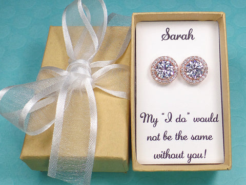Cubic zirconia stud earrings Round (CZ001)