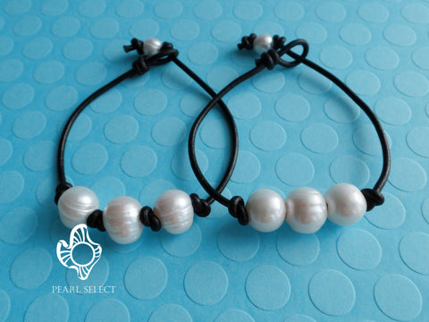 Leather Triple Pearl Bracelet