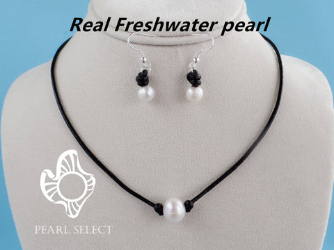 Leather Pearl Necklace & Earrings Set