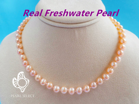 Peach Pink Pearl Necklace