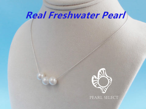 Floating Three Freshwater Pearl Necklace With Gift Box