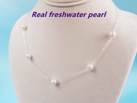Floating Five Freshwater Pearl Necklace