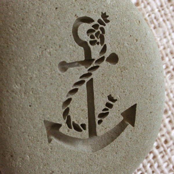 Anchor - Home Decor Paperweight - engraved stone by SJ-Engraving