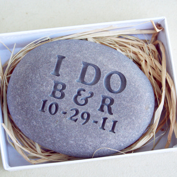 I DO - Personalized Wedding Oathing Stone - Wedding Vow, Anniversary, Commitment