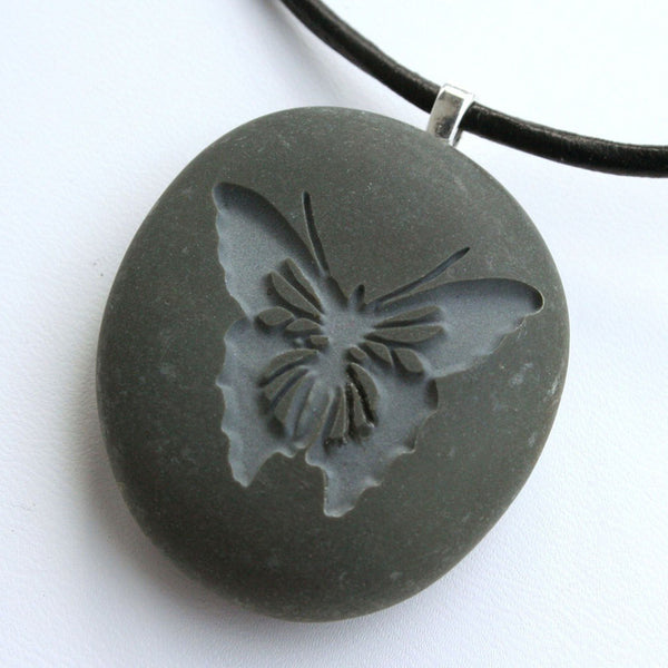 BUTTERFLY Necklace - Tiny PebbleGlyph (C) - Engraved pebble pendant