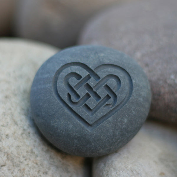 Celtic Heart Engraved Pebble - Symbol of Love