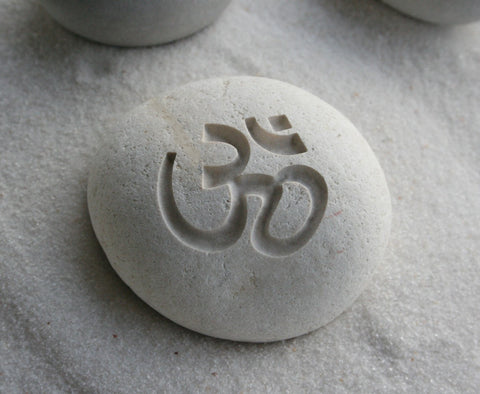OM stone - engraved beach pebble - Home decor - Decorative paperweight by SJEngraving