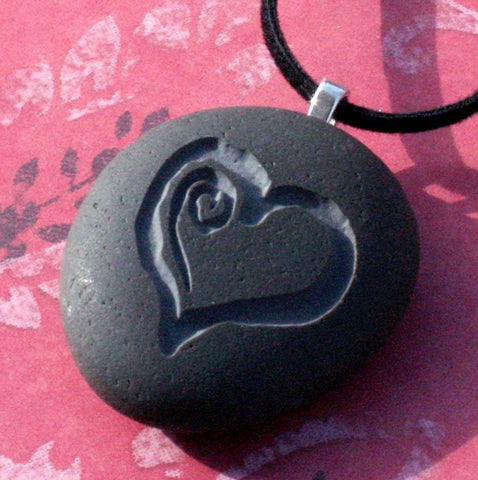 Sweet Heart Necklace - Tiny PebbleGlyph (C) - Engraved beach stones