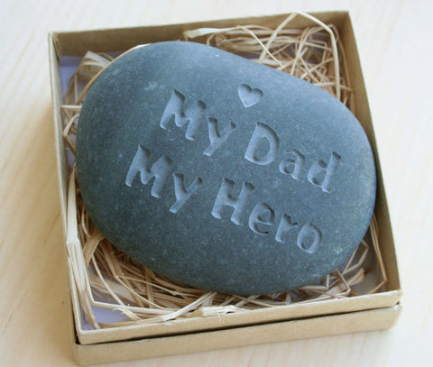 Gift for father - My Dad My Hero - Engraved stone paperweight