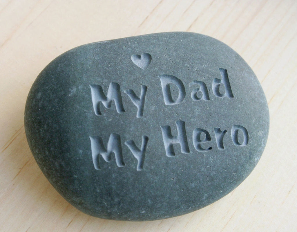 Gift For Father My Dad My Hero Engraved Stone Paperweight