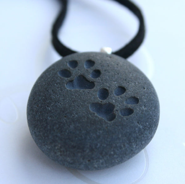 CAT paw print pendant - for kitty lover - Tiny PebbleGlyph (C) engraved pebble stone necklace