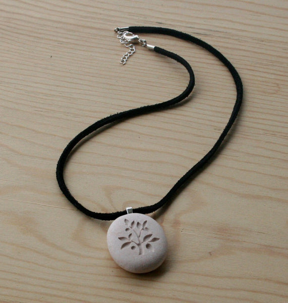 Tree of Life necklace - Hand engraved beach pebble necklace - Tiny PebbleGlyph (c) necklace