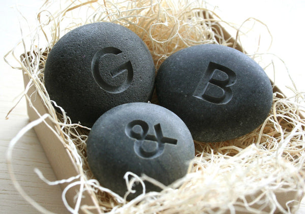 Petite love stones - set of 3 personalized initial pebbles