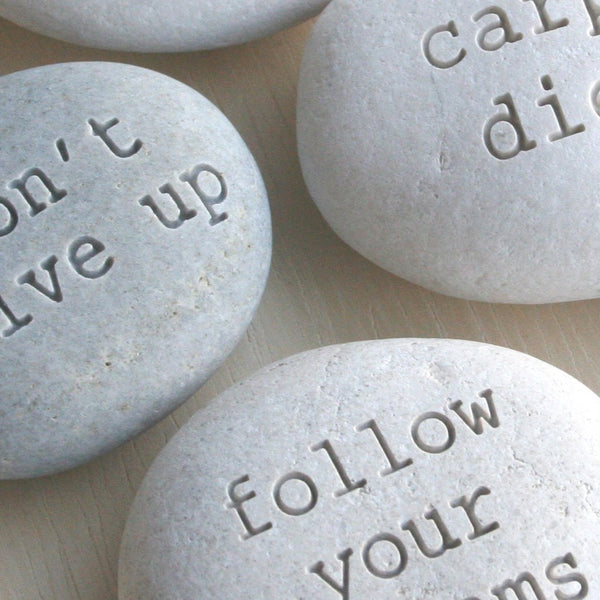 Message stones - custom text engraved on beach stones by SJ-Engraving