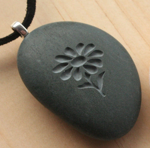 Wild Flower Pendant with cord - Tiny PebbleGlyph(c) Pendent - engraved pebble necklace