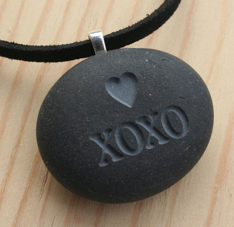 Hugs and Kisses Necklace- XOXO pendant - Tiny PebbleGlyph (C) - engraved pebble jewelry