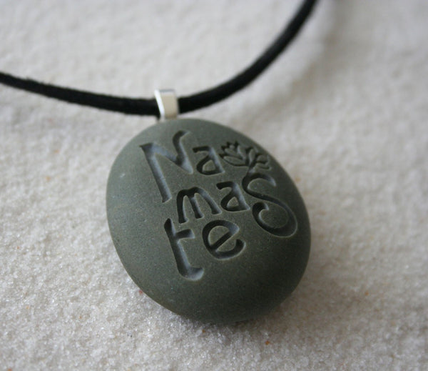 Namaste necklace - Engraved beach stone Tiny PebbleGlyph(c) Pendent