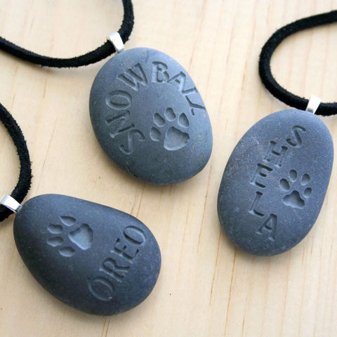 Personalized Wearable Memorial(c) - Tiny PebbleGlyph (c) pendant - Engraved pebble necklace