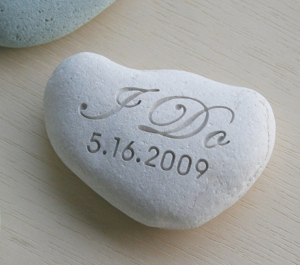 Wedding stone - I DO Oathing Stone - Wedding Vow, Anniversary, Ceremony - Double sided engraved wedding stone by SJ-Engraving