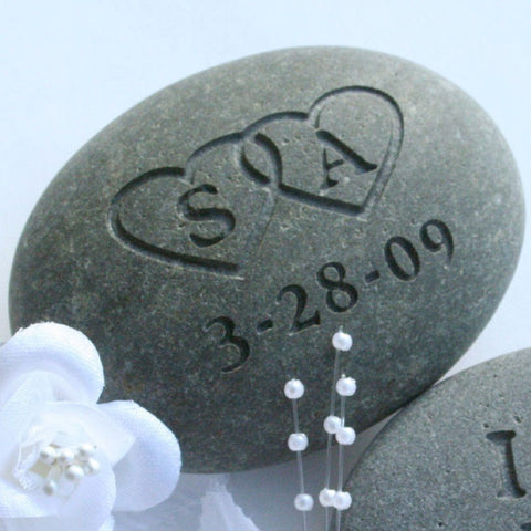 Custom Oathing Stone - Interlocking Hearts with Initials - for wedding, commitment ceremony or anniversary