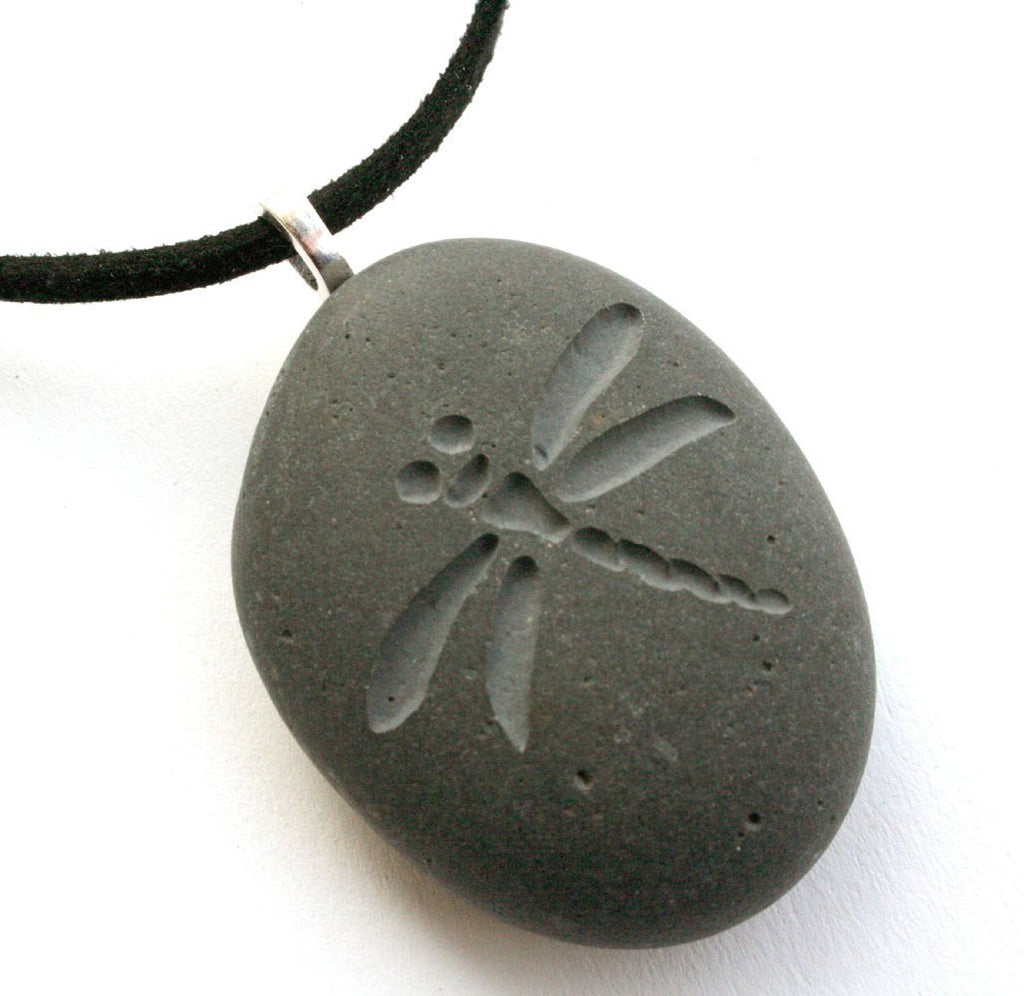 Dragonfly - Tiny pebble engraved stone necklace
