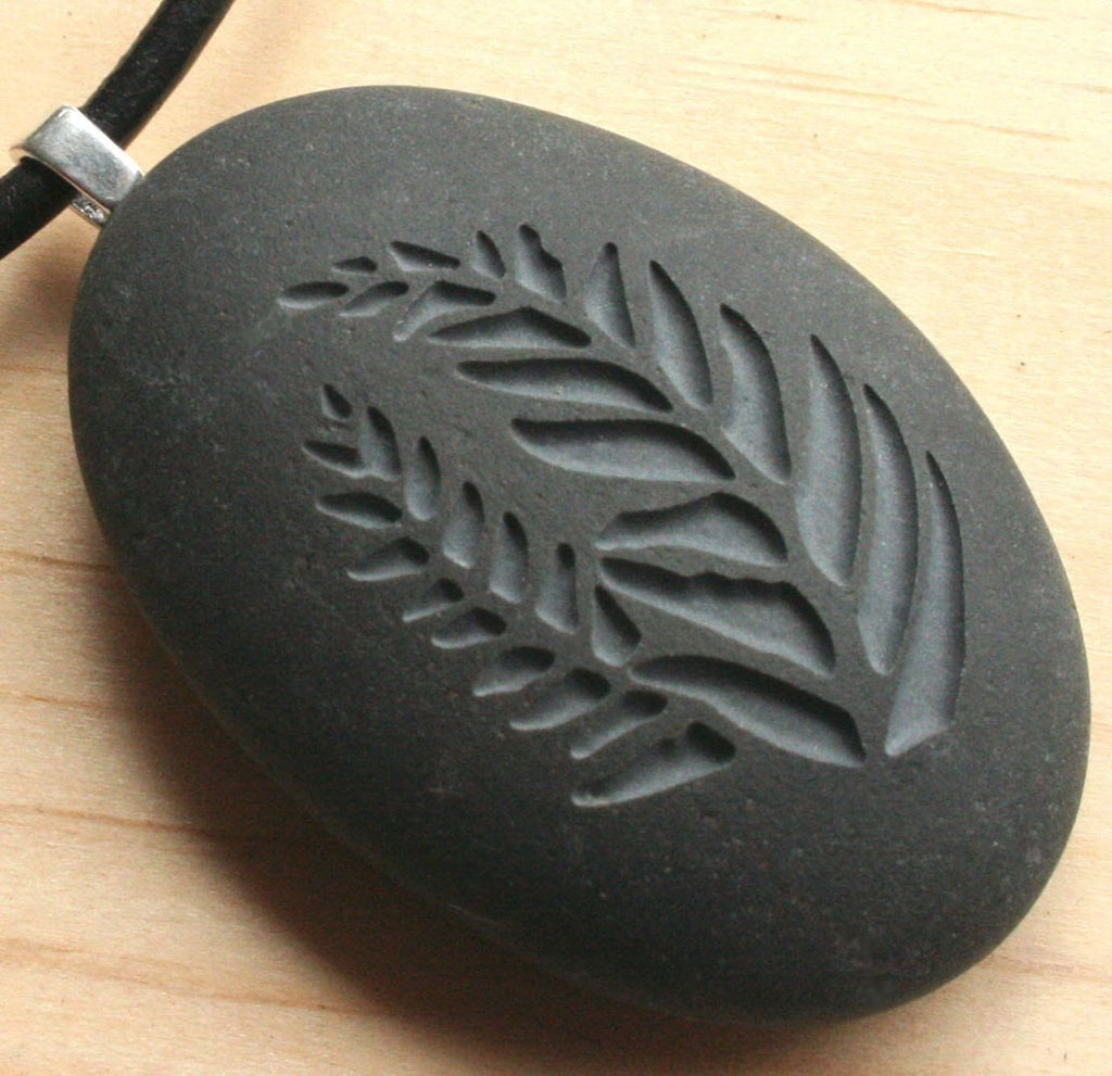 Love for Nature - Ferns pendant with cord - Tiny PebbleGlyph (C) - Carved beach stone necklace