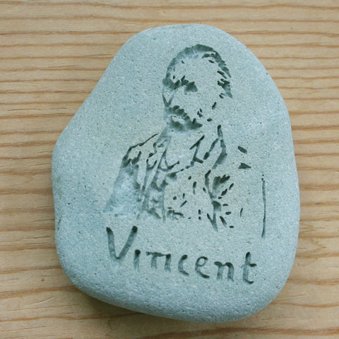 Van Gogh self portrait with autograph - Engraved Stone art - stone paperweight