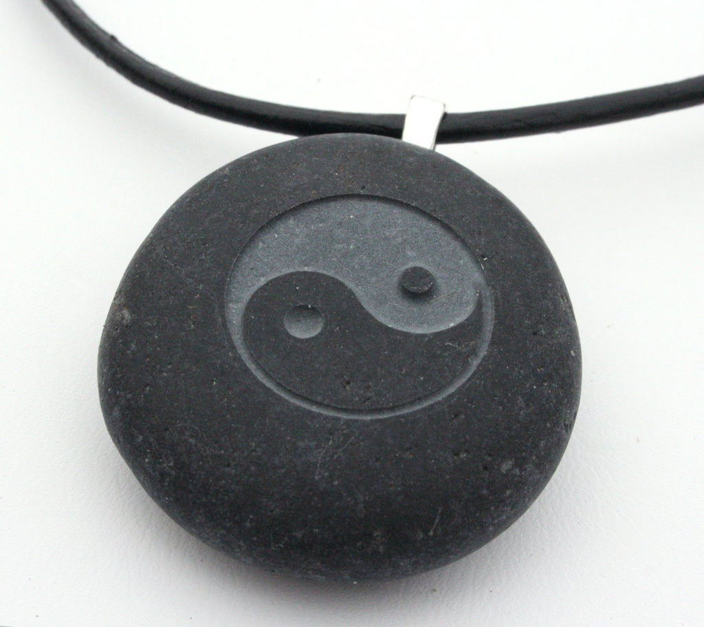 Tai Chi necklace - Tiny PebbleGlyph (C) - engraved pebble necklace
