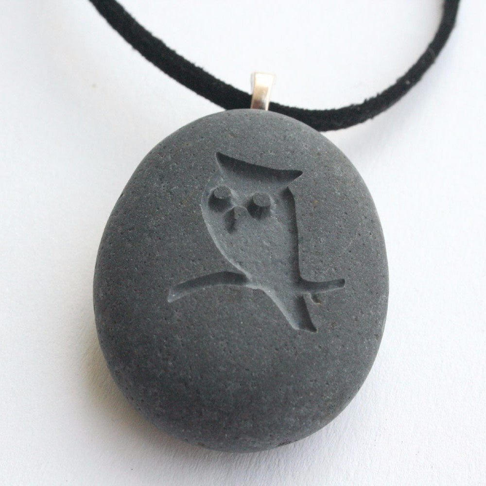 OWL necklace - engraved beach stone necklace