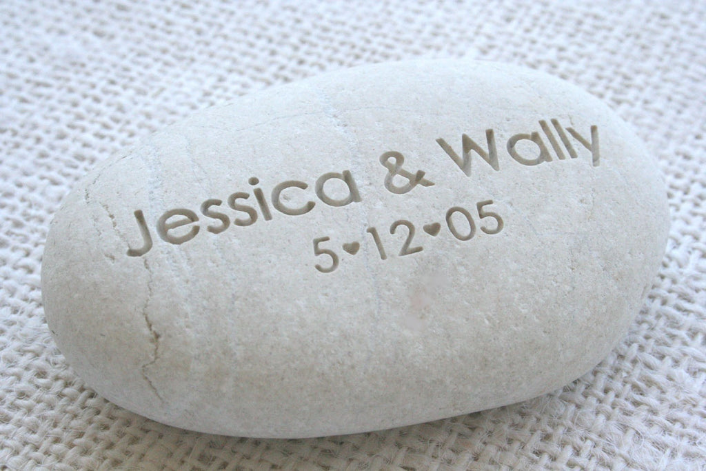 Oathing stone with couples names and date personalized wedding
