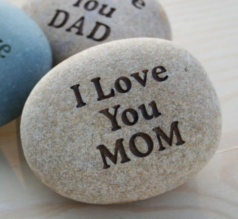 Love you Mom, Grandmom - custom engraved rock with you text - home decor - decoration and paperweight stone