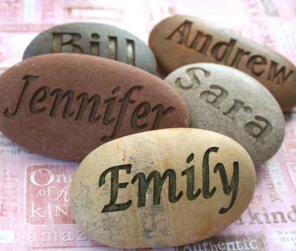 Customized Name Stone - Hand engraved name or word stones by SJ-Engraving