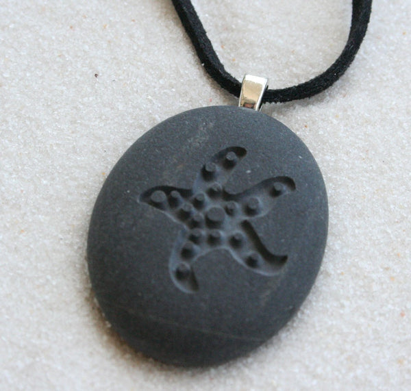 STARFISH Necklace- Tiny PebbleGlyph (c) by SJ-Engraving