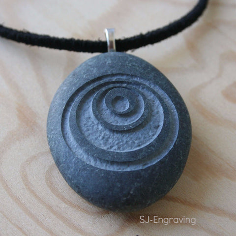 Crop Circle  - Tiny PebbleGlyph (c) Pendent with Cord - Engraved stone necklace