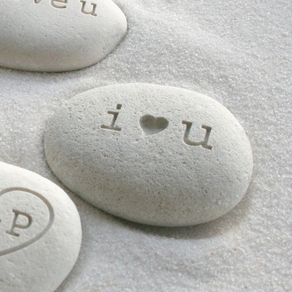 i heart u beach pebble - I love you gift stone - Petite love stone (TM) by SJ-Engraving