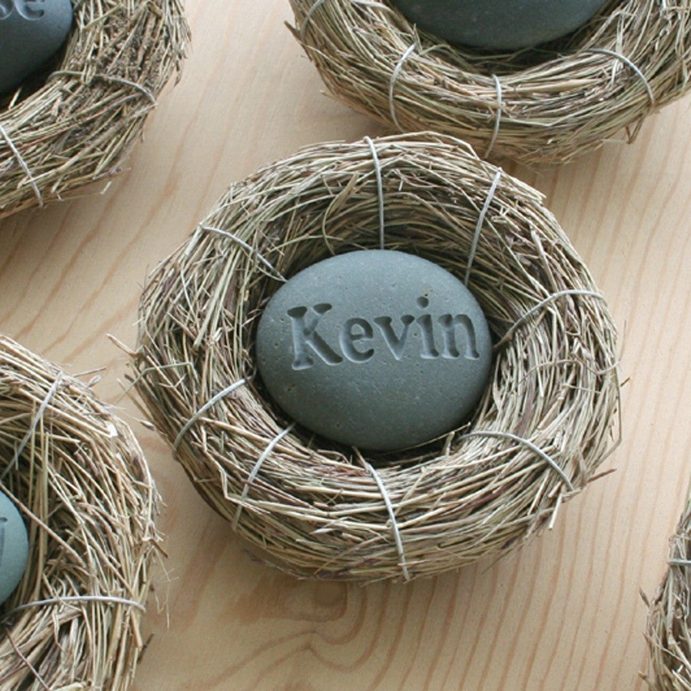 Baby's Nest (c) - Celebrate the newborn - Custom engraved stone in bird nest