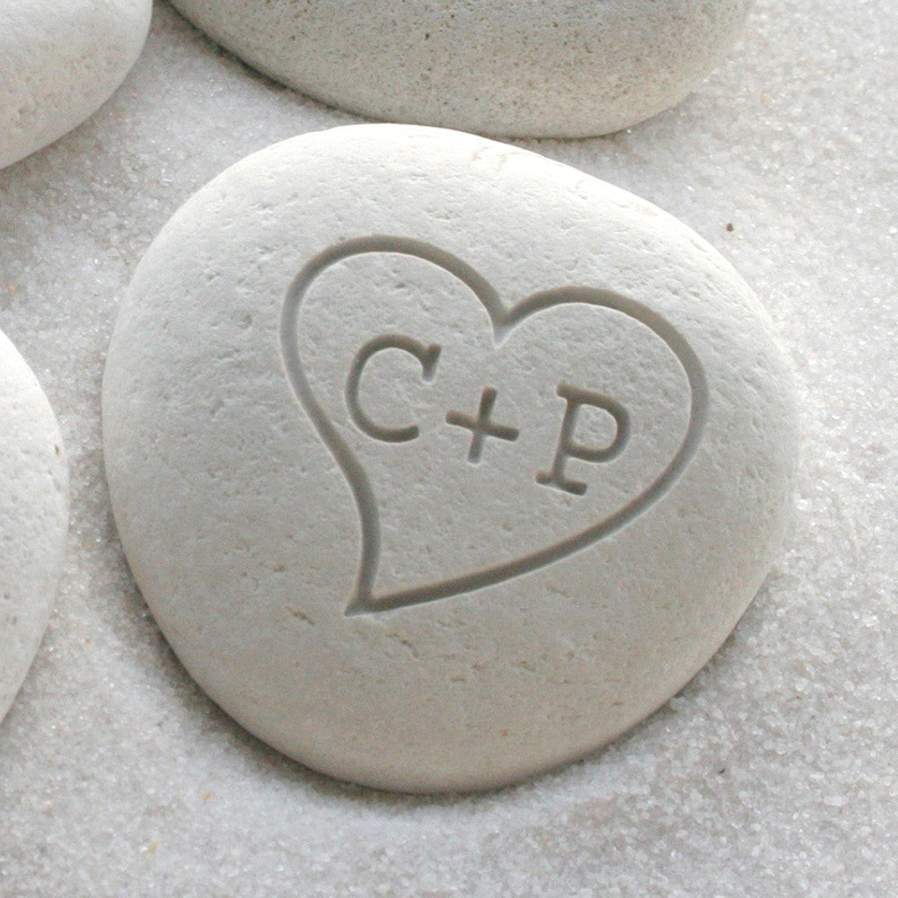 Personalized initials petite love pebble - Gifts for him, gift for her