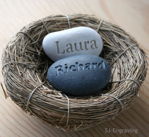 Our Nest Our Home (c) - Custom engraved couple's name stones in nest