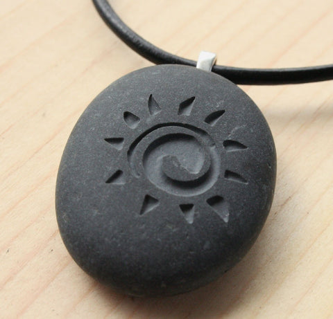 Sunshine Necklace - Tiny PebbleGlyph(c) Pendent - Natural stone pendants by SJ-Engraving