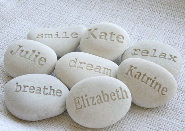 Beach stone in light color - Custom engraved beach pebble