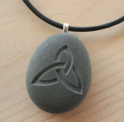Celtic triquetra necklace - Tiny PebbleGlyph (C) pendant - engraved beach stone