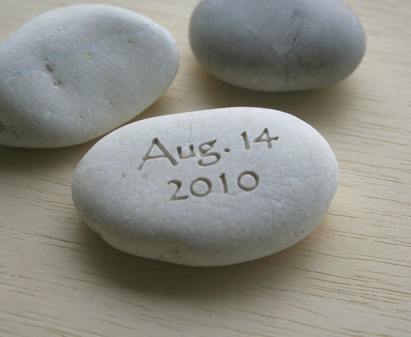 You plus me personalized initials pebble with date - Double sided engraved Petite love stone by SJ-Engraving