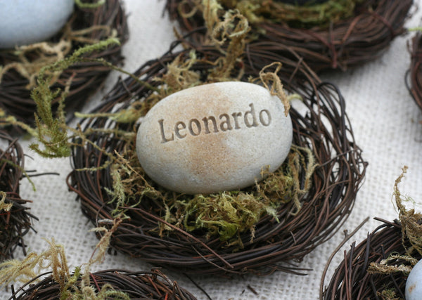 The Pebble Nest - personalized name, word or date - engraved gift in nest by SJ-Engraving