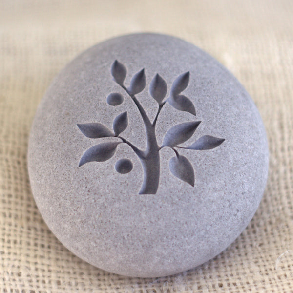 TREE OF LIFE -  Engraved pebble stones - Home decor, paperweight by SJ-Engraving