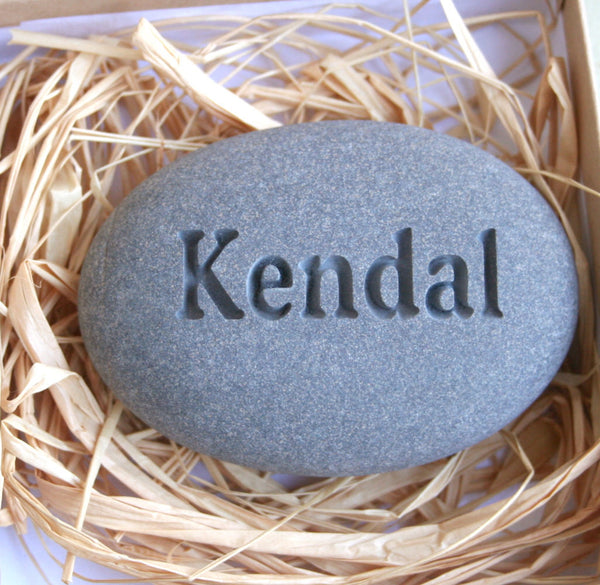 Customized Engraved gifts - Pocket Stone engraved with word or name in gift box