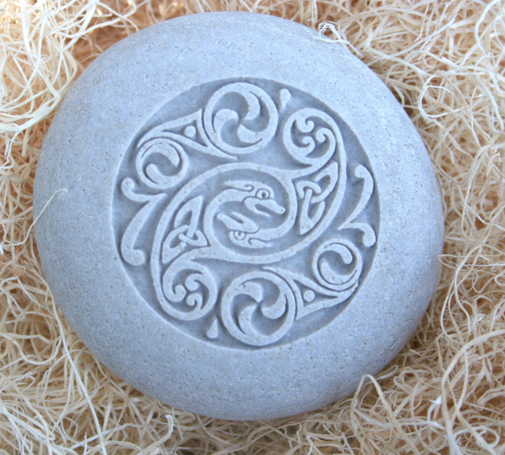 Celtic Design Home Decor Stone Paperweight Hand Carved Stone Art