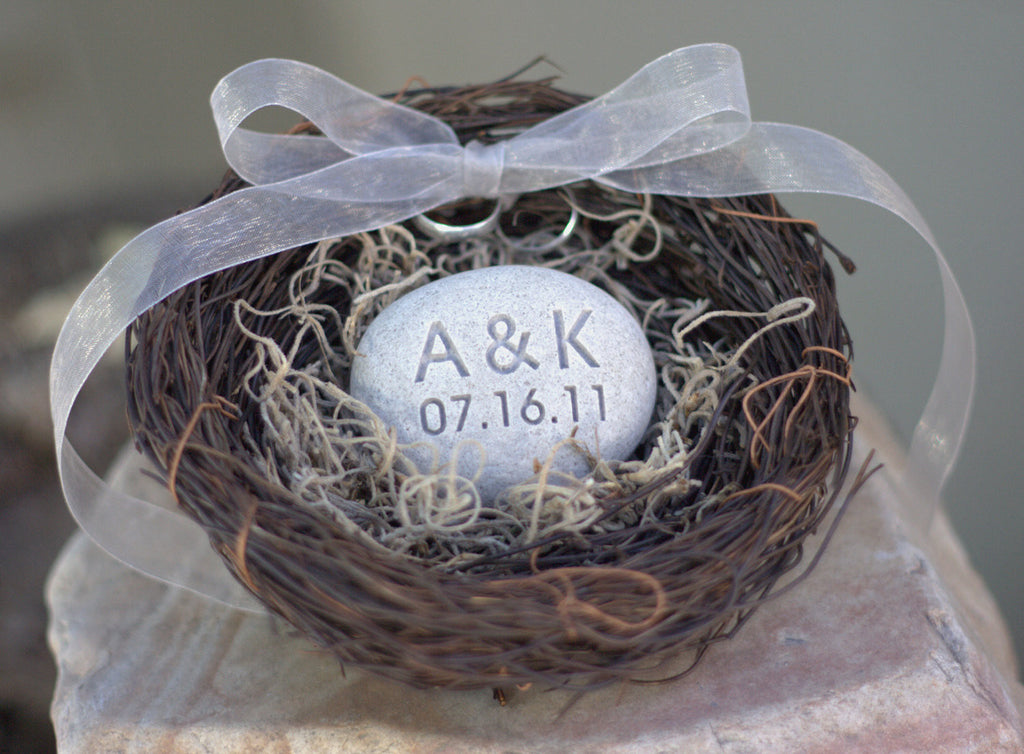 Ring Bearer Nest - with personalized Initials and date stone - Merry Pebble (TM) Collection by SJEngraving