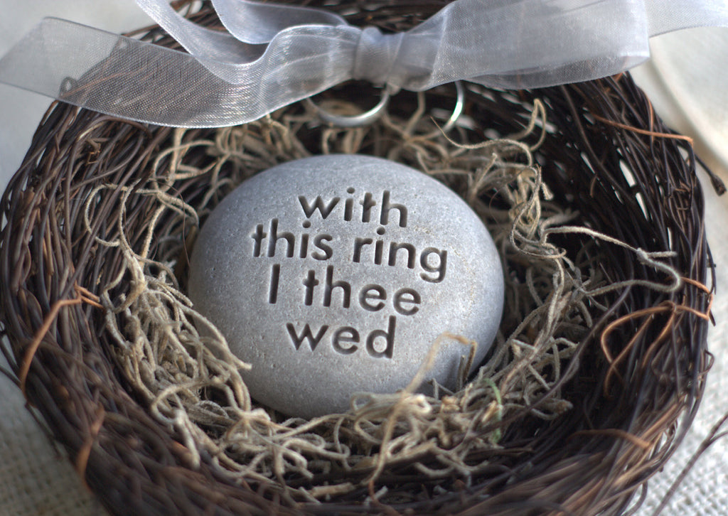 wedding ring bearer nest with this ring i thee wed merry pebble tm - With This Ring I Thee Wed
