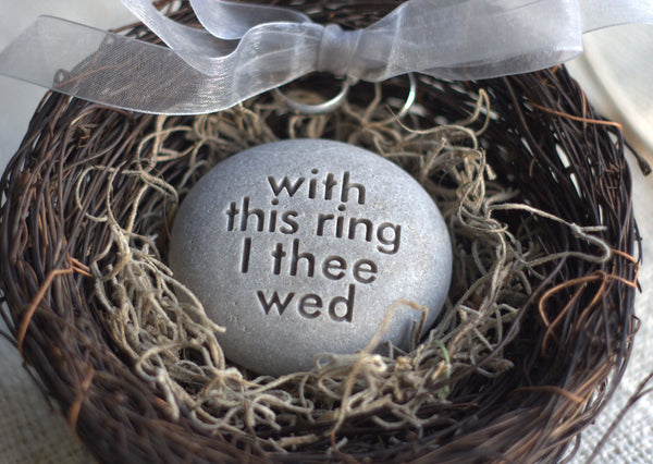 Wedding ring bearer nest - With this ring I thee wed - Merry Pebble (TM) Collection by SJ-Engraving - for wedding, commitment ceremony