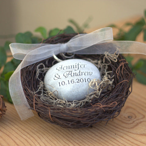 Personalized wedding ring pillow nest - oathing stone in nest ring bearer for wedding ceremony